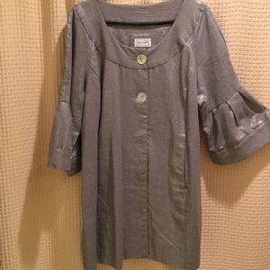 Linen,Metallic silver jacket